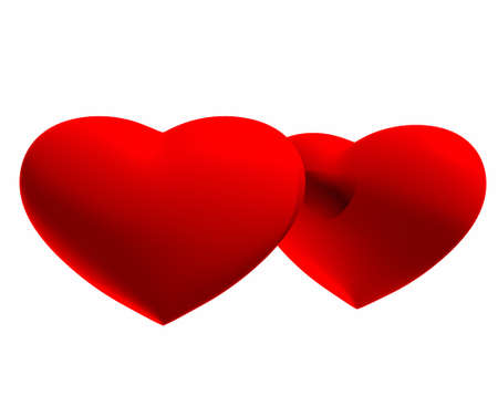 two hearts on a white background Stock Photo