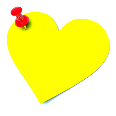 note pad: yellow sticker in the shape of heart