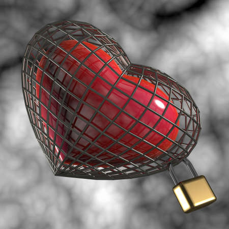 prisoner of love: Heart in a cage with a padlock.