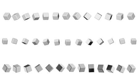 sequence of cubes neutral gray for the header of the site design Stock Photo