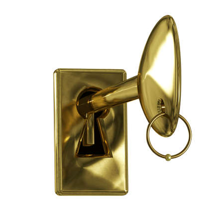 inserted: The key is inserted into the keyhole.