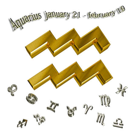 Aquarius zodiac sign, and date of birth. Stock Photo - 12910569
