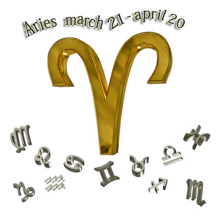 Aries zodiac sign, and date of birth.  photo