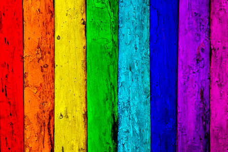 multicolored old wooden planks background Stock Photo