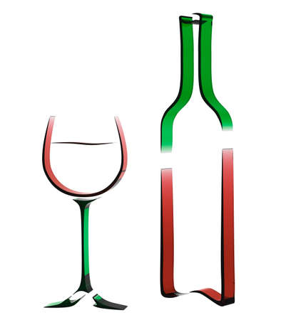 glass with red wine: Outline 3d illustration of a bottle of wine and a glass for the design of wine list or menu.