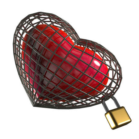 Heart in a cage with a padlock. on a white background Stock Photo - 15048294