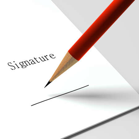signing document: paper with the words  signature  and pencil Stock Photo