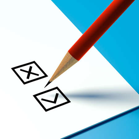 checklist or bulletin and a pencil on a blue background Stock Photo