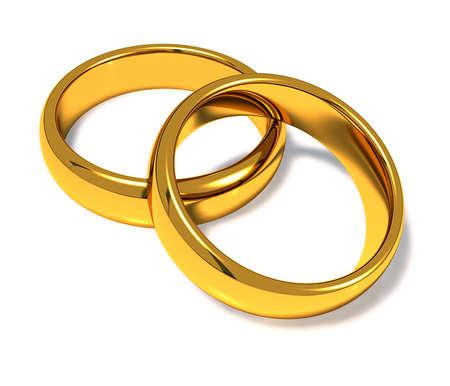 anneaux de mariage sur un fond blanc