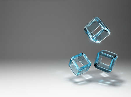 The refraction of light in the falling cubes of glass. photo