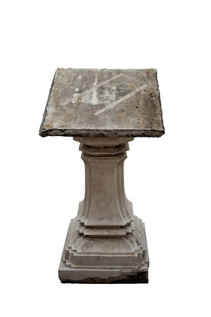 bible altar: old stone lectern in temple in Bangkok