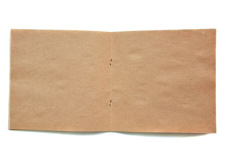 sketchbook: open brown sketchbook made of recycled paper on white background Stock Photo