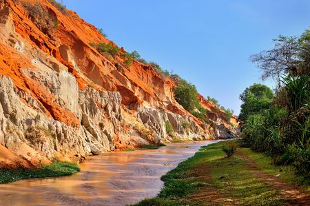 oxides: beautiful creek fairies with red and white sandstone in Mui Ne, Vietnam