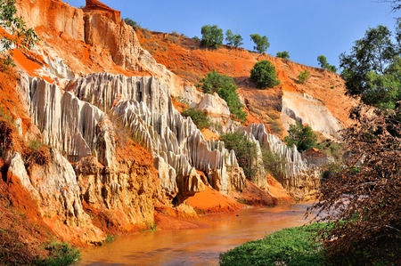 stratification: beautiful creek fairies with red and white sandstone in Mui Ne, Vietnam