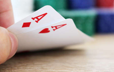 poker: Poker hand with two aces and chips