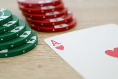 ace: Poker game with ace of hearts and chips Stock Photo