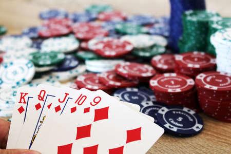 straight flush: Winning poker hand with straight flush before chips