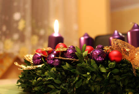 Advent wreath with candles as christmas symbol