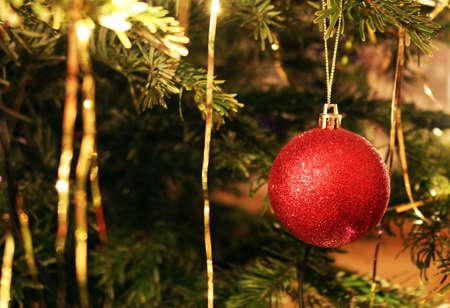 Detail of bright red christmas tree decoration Reklamní fotografie