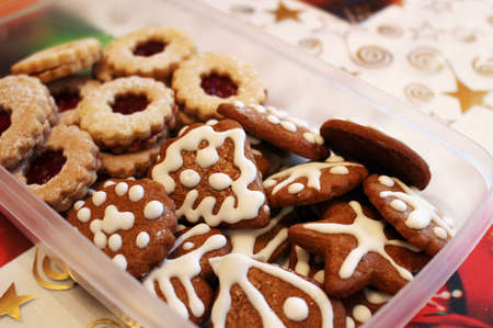 Box full of homemade christmas gingerbread sweets