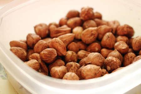 Bowl full of tasty and healthy hazelnuts