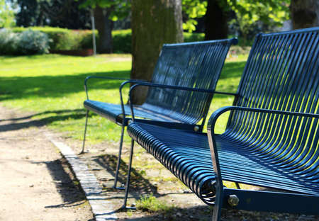 Detail of blue bench at spring park Reklamní fotografie