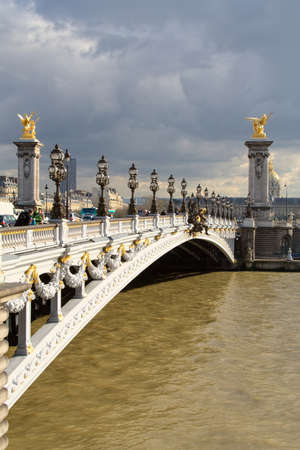 alexandre: View of the Alexandre III bridge in Paris on the Seine river
