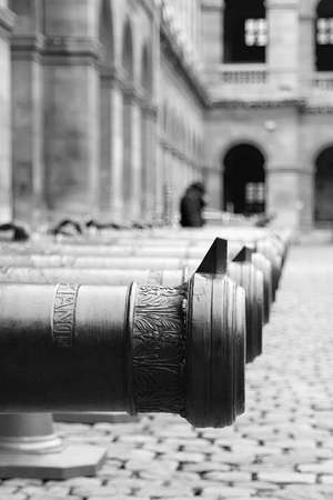 classicism: Cannons lined up inside the Hotel des Invalides in Paris, France Editorial