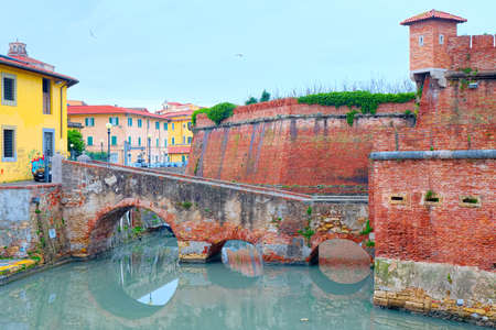leghorn: District of New Venice, Livorno, view of the island of New Fortress surrounded by the Royal Canal and the bridge with three arches that connects.