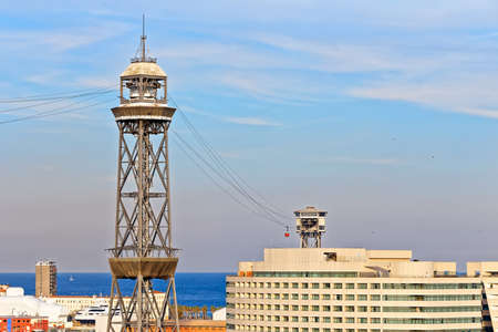 montjuic: Pylon of the cableway to Montjuic in Barcelona, used for tourist transport from port