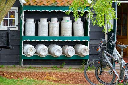 dutch typical: Milk and typical bike in a Dutch village (Zaandam)