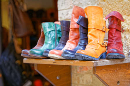 pienza: Handcrafted boots exposure to Pienza, Tuscany Stock Photo