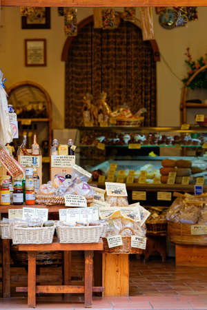 restaurateur: Exhibition of typical products of Pienza, Tuscany Editorial