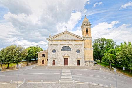 madonna: The square of the church of the Madonna del Soccorso in Montalcino Stock Photo