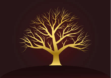 nightfall: Golden branched tree on a dark background Background color dark brown  Illustration