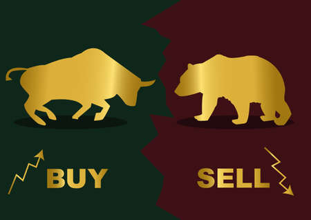 broker: Gold silhouette of a bear and bull Inscription Buy and Sell  Illustration