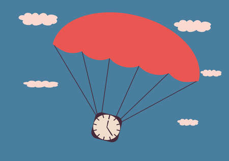 The clock on the parachute In the background sky Illustration in retro style