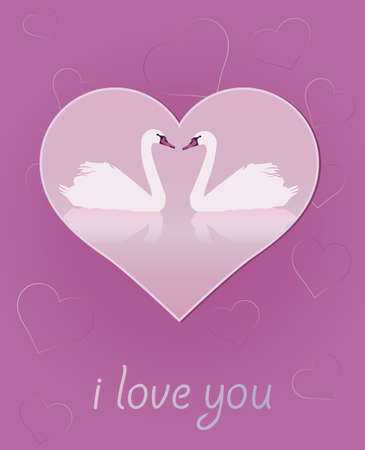 Heart and a pair of swans in love Illustration in shades of purple  Vector