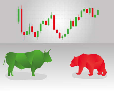 broker: Silhouette of a bull and a bear, and a price chart