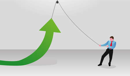 mobilization: Work for success. Male lifting the green arrow Illustration