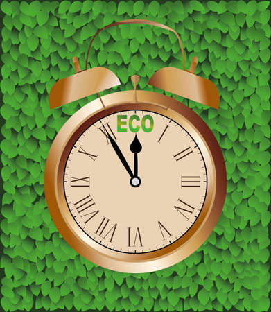 leaved: Clock with the inscription eco Illustration