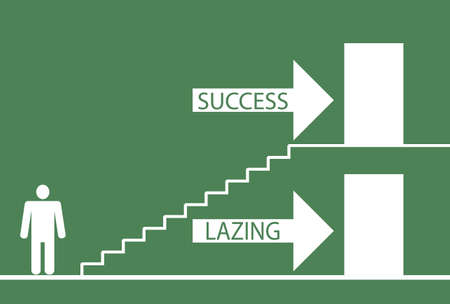 Illustration depicting a choice between laziness and success  Vector