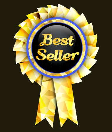 Golden badge with the inscription seller.Vector best illustration.