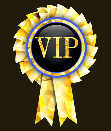 dandy: Golden badge with the inscription vip.Vector illustration.
