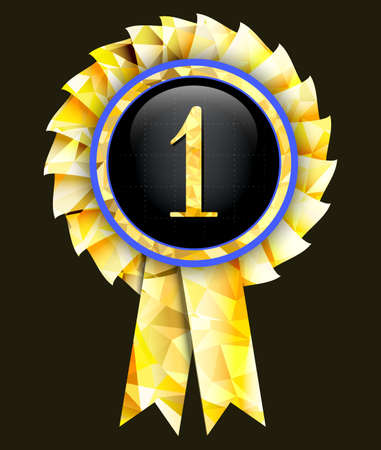 first place: First place award.Vector badge in golden color. Vectores