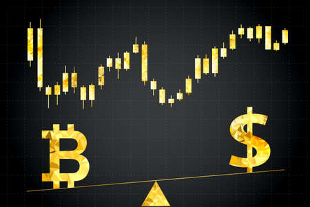unstable: Bitcoin and dollar symbols.In the background stock chart.