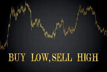 Acheter bas, vendre haut proverb.Vector financière illustration.