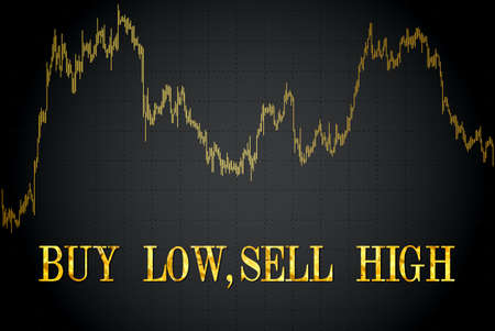 Buy low, sell high-financial proverb.Vector illustration.