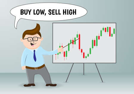 traders: Businessman and stock exchange rules.Vector illustration. Illustration