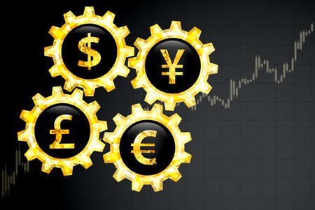 Financial background with currency symbols and chart.Vector illustration. Stock Illustratie